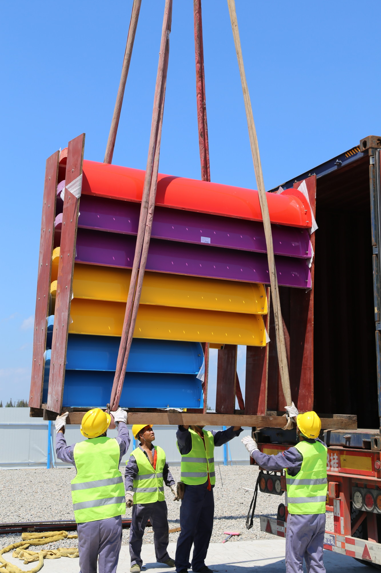 Delivery of water park construction containers